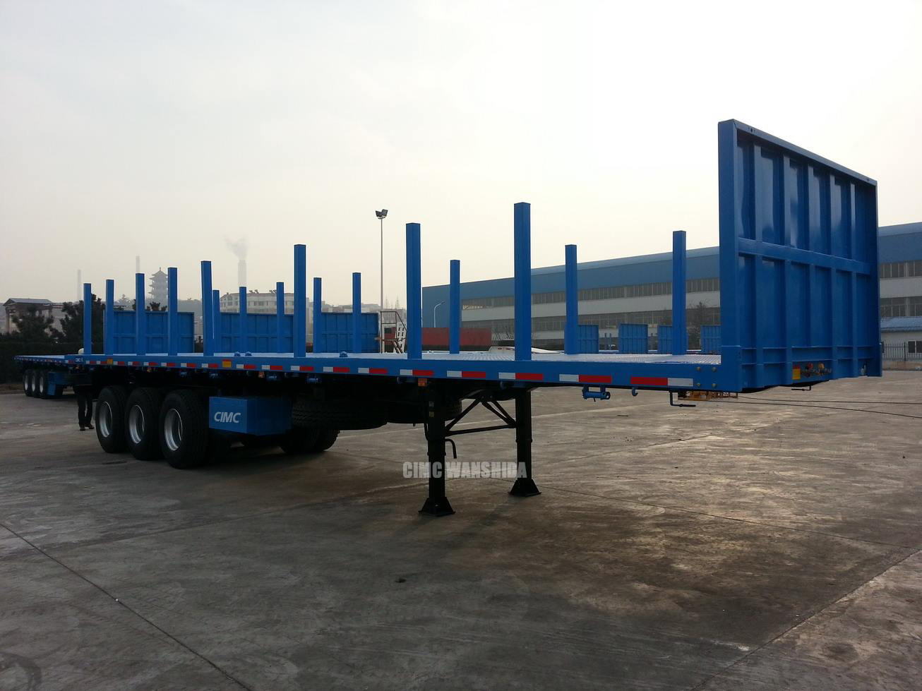 40ft 60 Tons Cargo Ship 3 Axles Log Flat Bed Trailer Log
